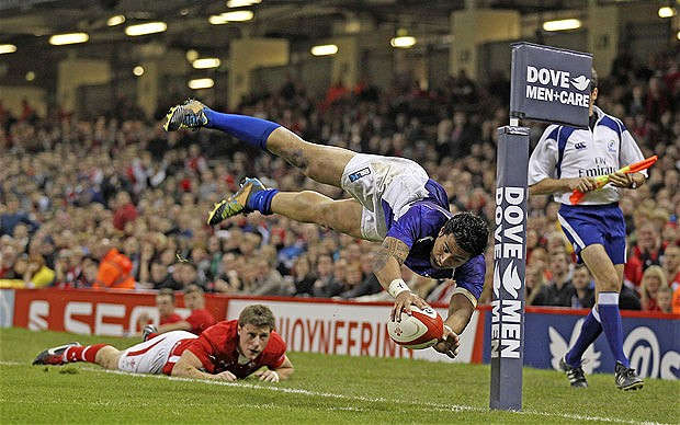 George Pisi scores a dramatic try in last year's win against Wales at the Millennium Stadium