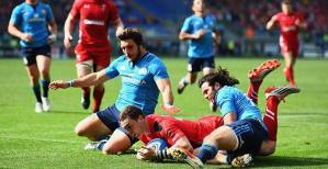 George North's hat trick saw Italy succumb to Wales